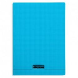 Cahier polypro Calligraphe grand format 24x32 96p petits carreaux (5x5) - bleu