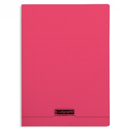 Cahier polypro Calligraphe grand format 24x32 96p petits carreaux (5x5) - rouge