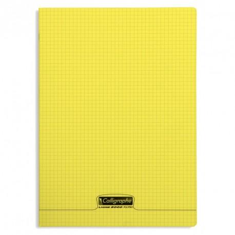 Cahier polypro Calligraphe grand format 24x32 96p petits carreaux (5x5) - jaune