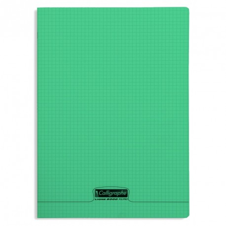 Cahier polypro Calligraphe grand format 24x32 96p petits carreaux (5x5) - vert