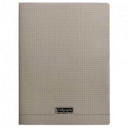 Cahier polypro Calligraphe grand format 24x32 96p petits carreaux (5x5) - gris
