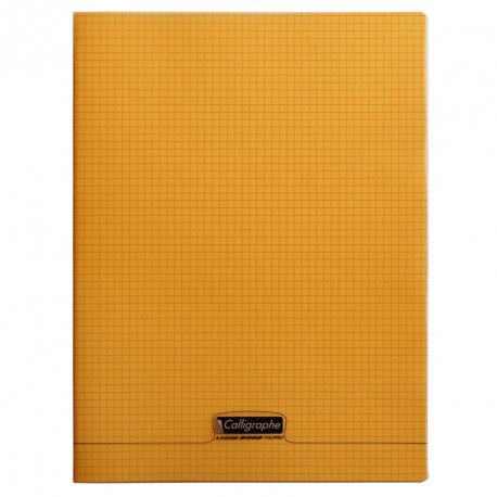 Cahier polypro Calligraphe grand format 24x32 96p petits carreaux (5x5) - orange