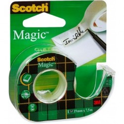 Ruban adhésif invisible Scotch Magic 19mm x 33m avec dévidoir