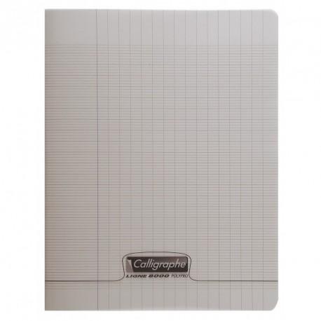 Cahier polypro Calligraphe petit format 17x22 96p grands carreaux (séyès) - gris