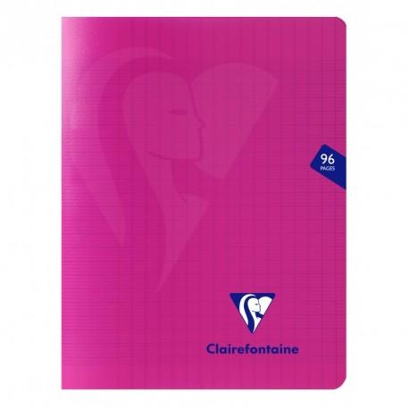 Cahier polypro Mimesys petit format 17x22 96p grands carreaux (séyès) - rose