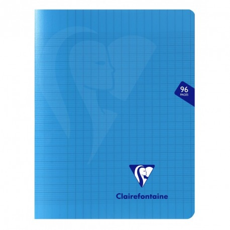 Cahier polypro Mimesys petit format 17x22 96p grands carreaux (séyès) - bleu