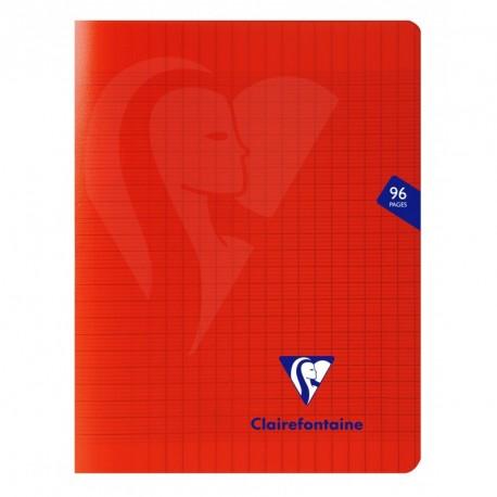 Cahier polypro Mimesys petit format 17x22 96p grands carreaux (séyès) - rouge