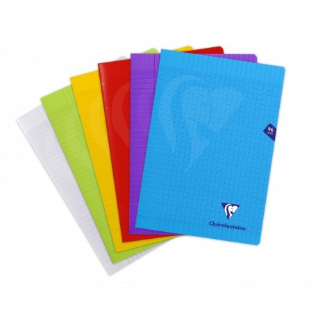 Cahier polypro Mimesys format A4 21x29,7 96p grands carreaux (séyès) - assortis