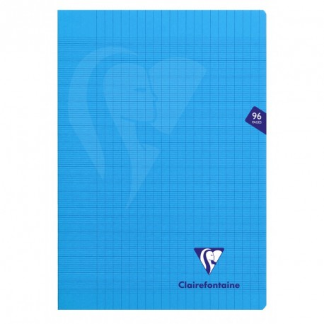 Cahier polypro Mimesys format A4 21x29,7 96p grands carreaux (séyès) - bleu