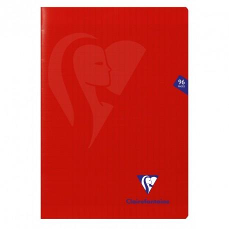 Cahier polypro Mimesys format A4 21x29,7 96p grands carreaux (séyès) - rouge