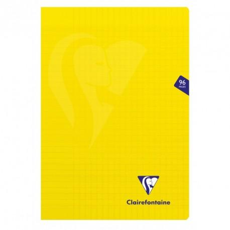 Cahier polypro Mimesys format A4 21x29,7 96p grands carreaux (séyès) - jaune