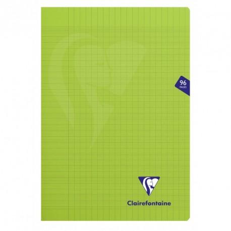 Cahier polypro Mimesys format A4 21x29,7 96p grands carreaux (séyès) - vert