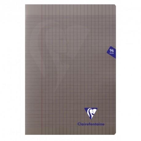Cahier polypro Mimesys format A4 21x29,7 96p grands carreaux (séyès) - gris