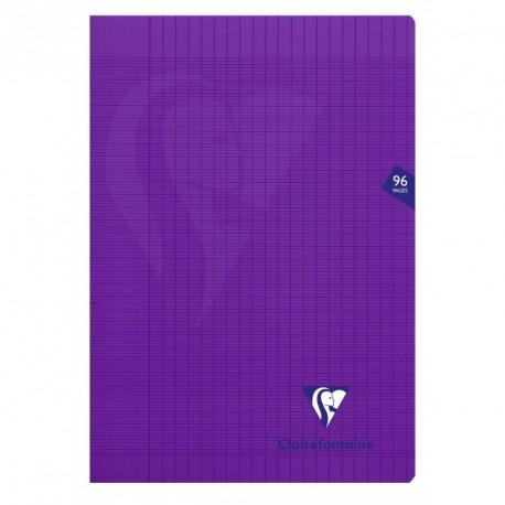 Cahier polypro Mimesys format A4 21x29,7 96p grands carreaux (séyès) - violet