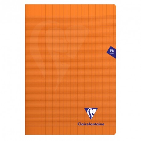 Cahier polypro Mimesys format A4 21x29,7 96p grands carreaux (séyès) - orange