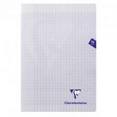 Cahier polypro Mimesys format A4 21x29,7 96p grands carreaux (séyès) - incolore