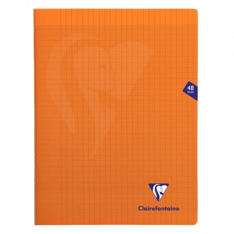 Cahier polypro Mimesys grand format 24x32 48p grands carreaux (séyès) - orange