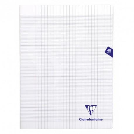Cahier polypro Mimesys grand format 24x32 48p grands carreaux (séyès) - incolore
