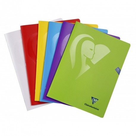 Cahier polypro Mimesys grand format 24x32 96p petits carreaux (5x5) - assortis