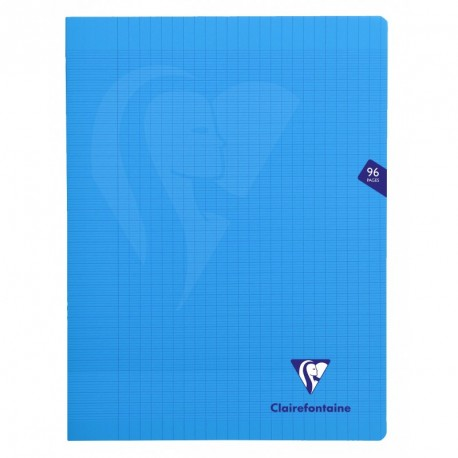 Cahier polypro Mimesys grand format 24x32 96p grands carreaux (séyès) - bleu