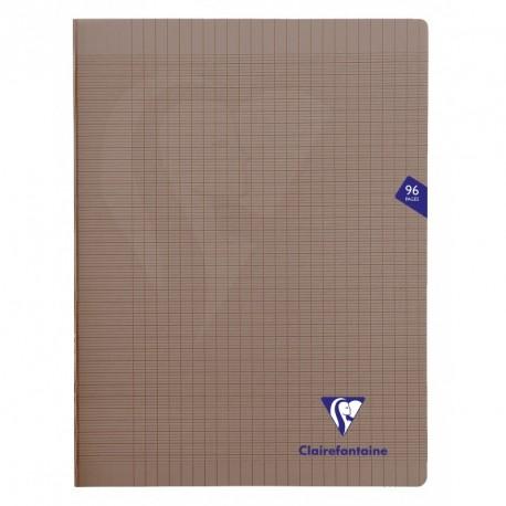 Cahier polypro Mimesys grand format 24x32 96p grands carreaux (séyès) - gris