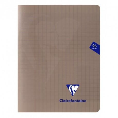 Cahier polypro Mimesys petit format 17x22 96p grands carreaux (séyès) - gris