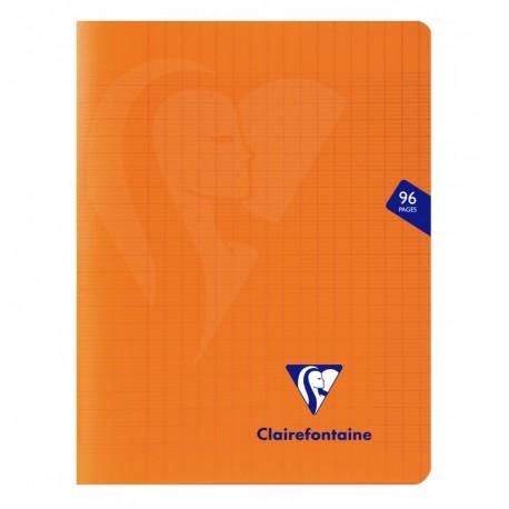Cahier polypro Mimesys petit format 17x22 96p grands carreaux (séyès) - orange
