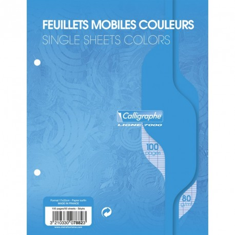 Feuilles simples petit format 17x22 100p grands carreaux Séyès - bleu