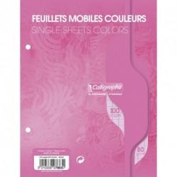 Feuilles simples petit format 17x22 100p grands carreaux Séyès - rose