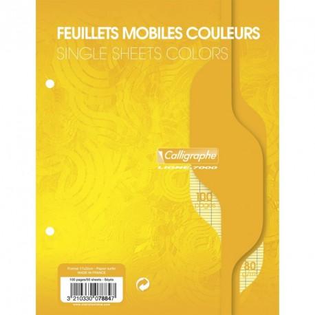 Feuilles simples petit format 17x22 100p grands carreaux Séyès - jaune