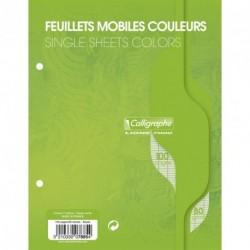 Feuilles simples petit format 17x22 100p grands carreaux Séyès - vert