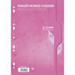 Feuilles simples format A4 21x29,7 100p grands carreaux Séyès - rose