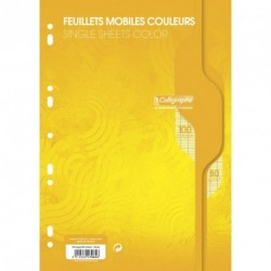 Feuilles simples format A4 21x29,7 100p grands carreaux Séyès - jaune