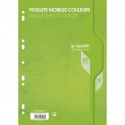 Feuilles simples format A4 21x29,7 100p grands carreaux Séyès - vert