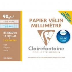 Feuille de papier millimétrée en feuille grand format 21x29.7 90gr