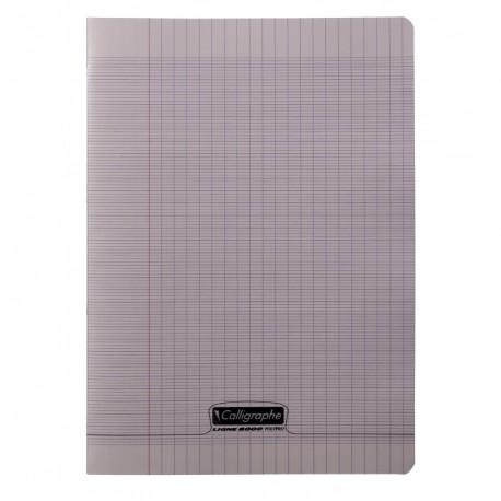 Cahier polypro Calligraphe format A4 21x29,7 48p grands carreaux (séyès) - gris