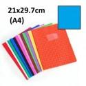 Protège-cahier format A4 21x29,7 avec porte étiquette - bleu