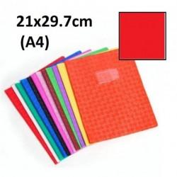 Protège-cahier format A4 21x29,7 avec porte étiquette - rouge