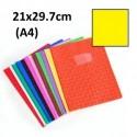 Protège-cahier format A4 21x29,7 avec porte étiquette - jaune