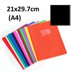 Protège-cahier format A4 21x29,7 avec porte étiquette - noir