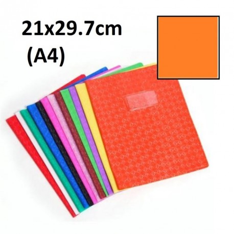 Protège-cahier format A4 21x29,7 avec porte étiquette - orange