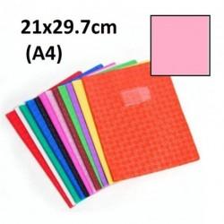 Protège-cahier format A4 21x29,7 avec porte étiquette - rose