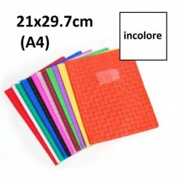 Protège-cahier format A4 21x29,7 avec porte étiquette - incolore