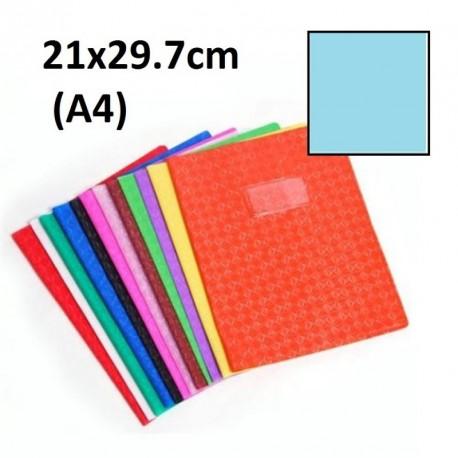 Protège-cahier format A4 21x29,7 avec porte étiquette - bleu clair