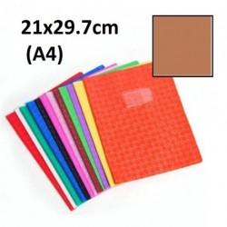 Protège-cahier format A4 21x29,7 avec porte étiquette - brun