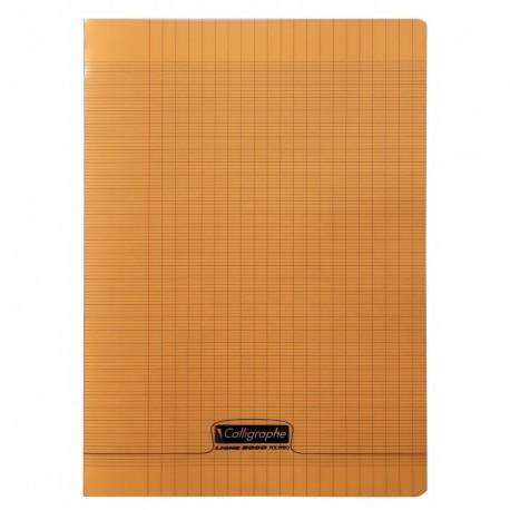 Cahier polypro Calligraphe format A4 21x29,7 48p grands carreaux (séyès) - orange