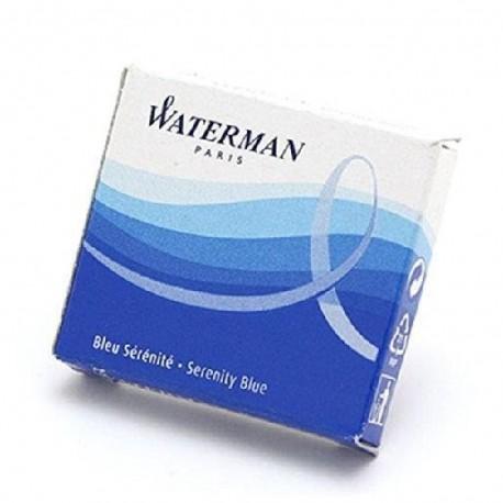 Cartouches d'encre bleu Waterman en etui de 6 mini cartouches
