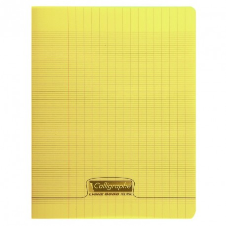 Cahier polypro Calligraphe grand format 24x32 140p grands carreaux (séyès) - jaune