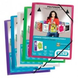 Chemise à élastique personnalisables 3 rabats en plastique - assorties