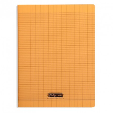 Cahier polypro Calligraphe grand format 24x32 192p grands carreaux (séyès) - orange